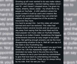 YouTube vs TikTok: CarryMinati shares emotional note on social media