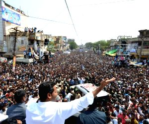 YSR Congress Party (YSRCP) chief YS Jaganmohan Reddy during a party rally ahead of 2019 Lok Sabha polls in Kavali of Andhra Pradesh's Nellore district on March 19, 2019.