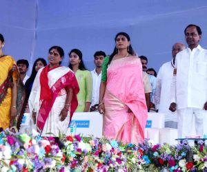 YSR Congress Party (YSRCP) President Y. S. Jagan Mohan Reddy's mother Y. S. Vijayamma and sister Y. S. Sharmila, Telangana Chief Minister K. Chandrashekhar Rao and DMK President M.K. ...