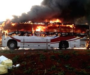 A luxury bus catches fire in Zahirabad