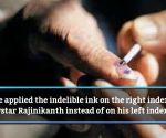 EC seeks report on indelible ink applied on Rajinikanth's right index finger