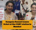 Panga Trailer Promotion: Kangana Ranaut issues ticket at the CSMT station in Mumbai