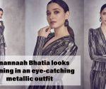 Tamannaah Bhatia looks stunning in an eye catching metallic outfit