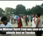 Watch: Smriti Irani plays volleyball with party workers in Amethi