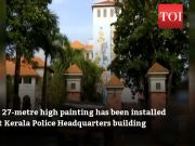 27-metre high painting installed at Kerala Police Headquarters