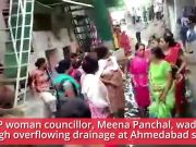 Ahmedabad: Female BJP councillor made to walk through overflowing sewage
