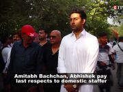 Amitabh Bachchan and Abhishek Bachchan perform last rites of domestic help, lift bier