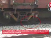 Andhra Pradesh: Miraculous escape for man as goods train almost passes over him