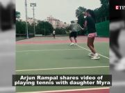Arjun Rampal enjoys a game of tennis with daughter Myra Rampal