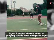 Arjun Rampal enjoys a game of tennis with daughter Myra Rampal