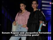 BFFs Sonam Kapoor and Jacqueline Fernandez look their fashionable best at 'The Zoya Factor' screening