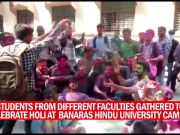 BHU students celebrate Holi in Varanasi