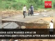 Chhattisgarh: Bridge washed away in heavy rains, people stranded on both ends