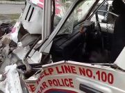 Cops drive PCR van on wrong side of the road, hit by a truck