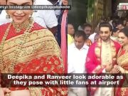 Deepika Padukone and Ranveer Singh pose with their little fans at airport on first wedding anniversary