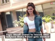 Disha Patani gets mobbed; Tiger Shroff comes to her rescue