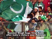 Excited Ranveer Singh hugs Virat Kohli post India's victory against Pakistan in ICC World Cup 2009