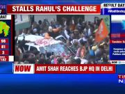 Grand welcome for Amit Shah at BJP HQ