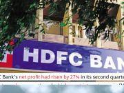 HDFC Bank Q2 profit rises 27%