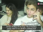 Ibrahim Ali Khan  Amrita Singh  Bhumi Pednekar among others at Sara Ali Khan s birthday bash