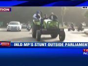 INLD MP rides a tractor to Parliament