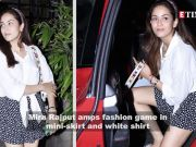 Mira Rajput aces street style look in a cute mini-skirt and knotted shirt