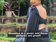Monalisa aces yet another 'desi look' in blue polka dot sari