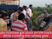 Mumbai-bound train rams auto rickshaw stuck on railway tracks