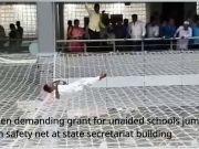 Mumbai: Men demanding grant for unaided schools jump on safety net at secretariat building