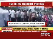 Narayanasamy steps out of car to help accident victims