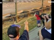 Narrow escape for fans at a school bus race in the US