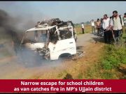 Narrow escape for school children as van catches fire in MP's Ujjain district