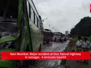 Navi Mumbai: Major accident at Sion Panvel highway in Juinagar, 4 seriously injured