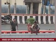 On cam: Man tries to jump off Hyderabad flyover, rescued by passersby