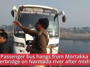 On cam: Passenger bus hangs from overbridge after a mishap over Narmada river