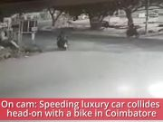 On cam: Speeding luxury car hits bike, rider flung several feet in the air