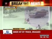 On cam: Speeding truck drags biker for few metres in Rajasthan, man dies