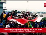 Patriotic! Boxers honour giant national flag on rain swept Independence Day in Visakhapatnam