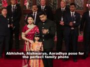Perfect family! Aishwarya Rai Bachchan, Abhishek Bachchan and Aaradhya Bachchan pose for shutterbugs at Isha Ambani-Anand Piramal's wedding