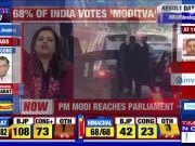 PM Narendra Modi reaches Parliament, shows victory sign