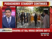 Puducherry CM V Narayanasamy's dharna at Raj Nivas enters day 5