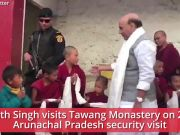Rajnath Singh visits Tawang Monastery, interacts with young monks