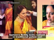 Sameera Reddy celebrates her baby shower, looks gorgeous in traditional yellow sari