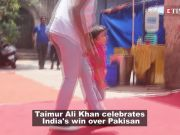 Taimur Ali Khan celebrates India's win over Pakisan