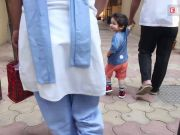 Taimur Ali Khan greets the shutterbugs with his beaming smile