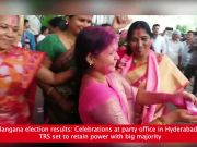 Telangana election results: Celebrations at party office in Hyderabad as TRS set to retain power with big majority