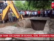 Trapped girl students rescued after water tank collapses in school