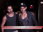 Varun Dhawan snapped outside gym with trainer