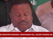 Watch: AIADMK minister Dindigul Srinivasan falls asleep during an event