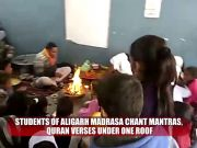 Watch: Aligarh madrassa students chant mantras, Quran verses under one roof